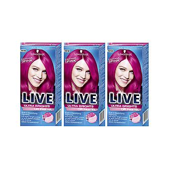 Schwarzkopf Ultra Brights 093 Shocking Pink Semi-Permanent Colour Hair Dye x 3