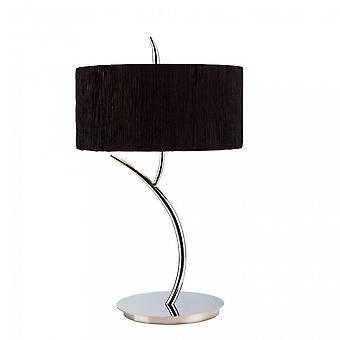 Mantra Eve tafel lamp 2 licht E27 groot, gepolijst chroom met zwarte ronde schaduw