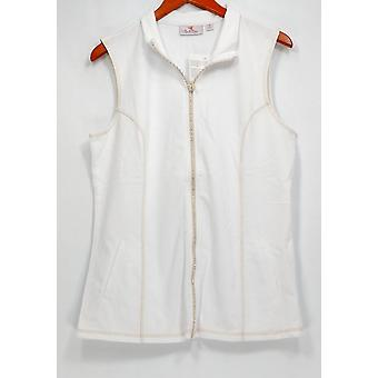 Quacker Factory Vest French Terry Zip Front Vest White A273161