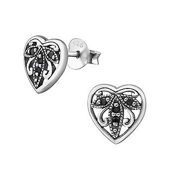 Heart - 925 Sterling Silver Cubic Zirconia Ear Studs - W30798X