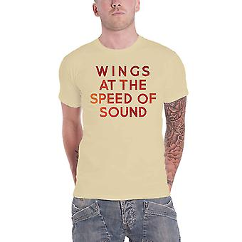 Paul McCartney T Shirt Wings at the Speed of Sound Logo new Official Mens Sand
