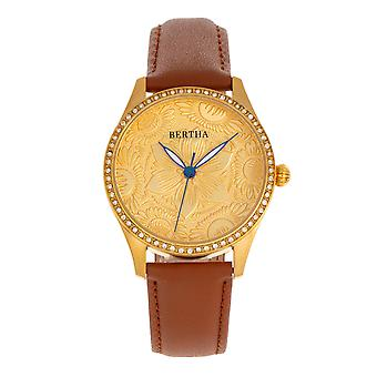 Bertha Dixie Floral Engraved Leather-Band Watch - Vert