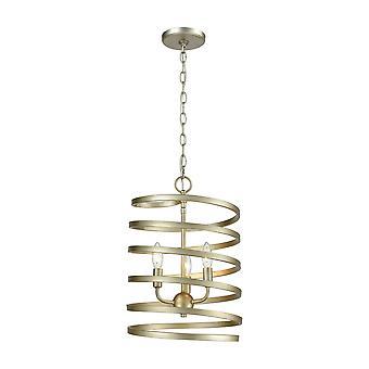 Whirlwind 3-light pendant in aged silver elk lighting