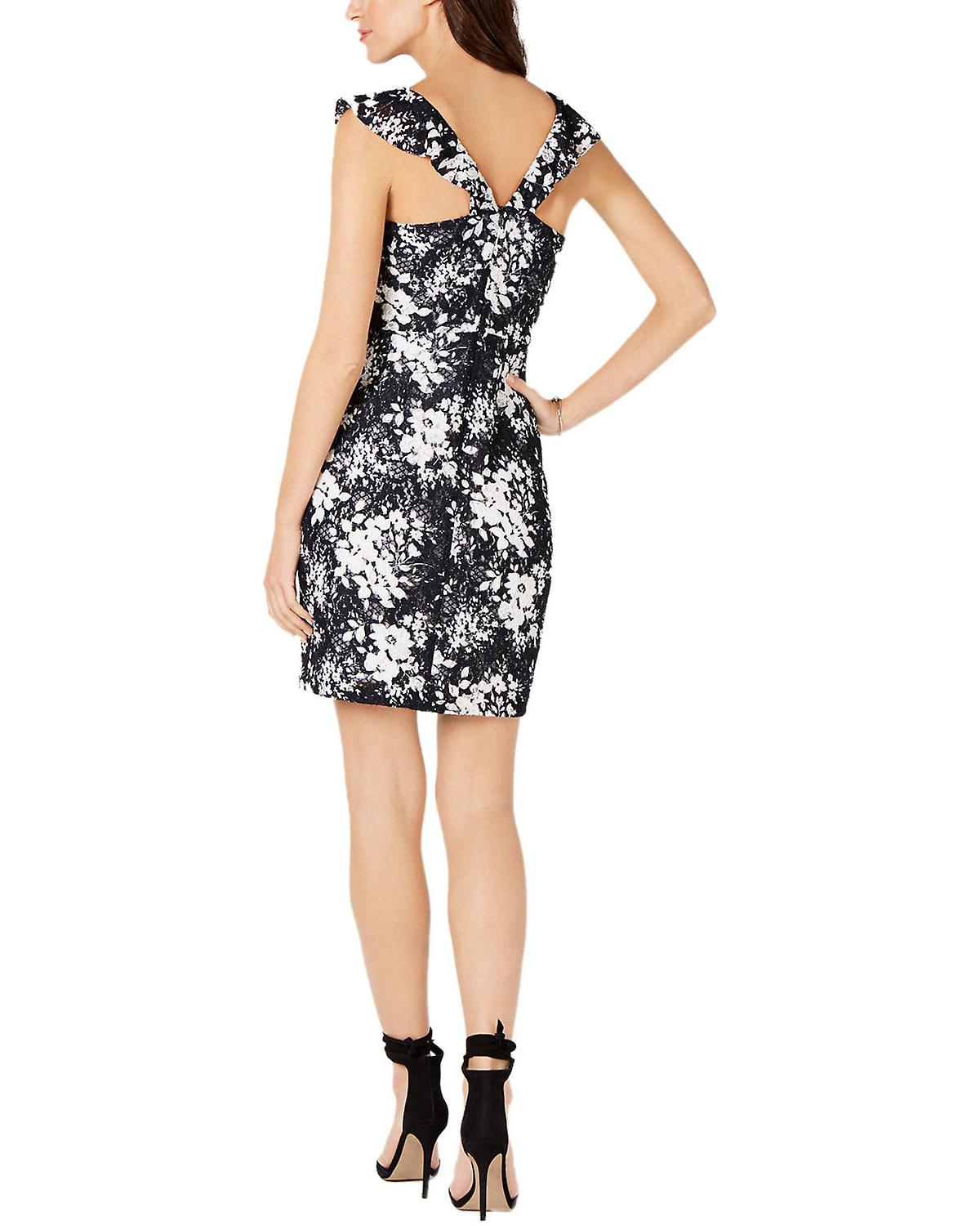 GUESS Ruffled Floral Lace Dress