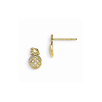 14k Yellow Gold Madi K Sparkle Cut for boys or girls Pineapple Post Earrings - .4 Grams