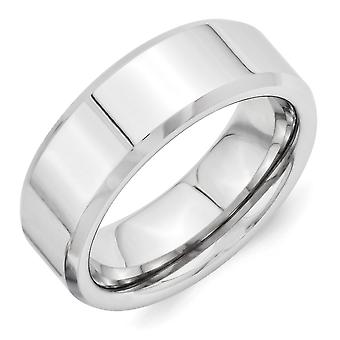 Vitalium Engravable Polished 8mm Beveled Edge Band Ring Size 9.5 Jewelry Gifts for Women