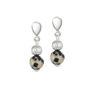 Eternal Collection debutant Dalmatian Jasper semi edelt sølv tone drop klipp på øredobber