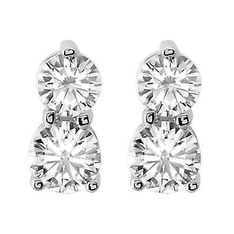 1/2CT Forever Us Two Stone Diamond Studs Womens Earrings 14K White Gold