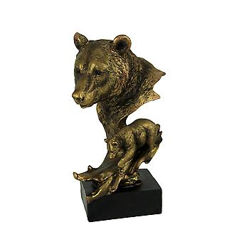 Bronze Finish Mother Bear Head and Cub Wildlife Statue