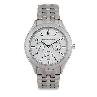 Fransk anslutning Mens Watch silverfärgad urtavla rostfritt stål armband FC1187SM