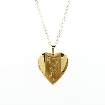 Eternity 9ct Gold Heart Gravé Butterfly Locket Et 16'apos;apos; Trace Chain