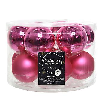 12 5cm Shocking Pink Glass Christmas Tree Bauble Decorations