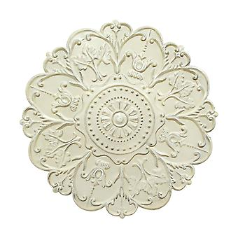 Distressed Floral Shabby Medallion Metal Wall Decor