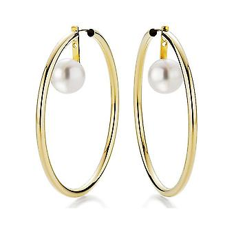Yana Nesper - Hoop earrings - Women '- Creole FC129 with freshwater pearls in yellow gold