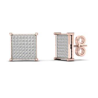 Boucles d'oreilles Igi certifiés 10k rose or 0,33 ct brillants boucles d'oreilles de goujon de grappe de diamant