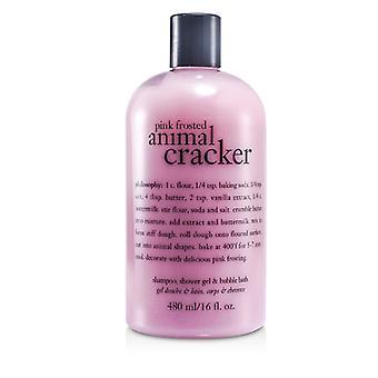 Pink Frosted Animal Cracker Shampoo Shower Gel & Bubble Bath - 480ml/16oz