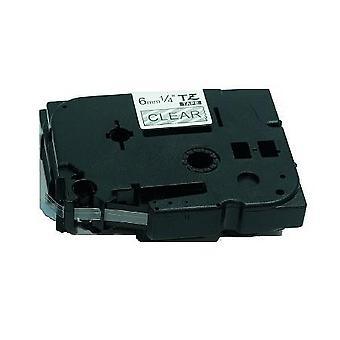 Kaseta Prestige™ kompatybilna tz-115/tze-115 biała na przezroczystych taśmach etykietowych (6mm x 8m) do maszyn do drukowania etykiet p-touch brata