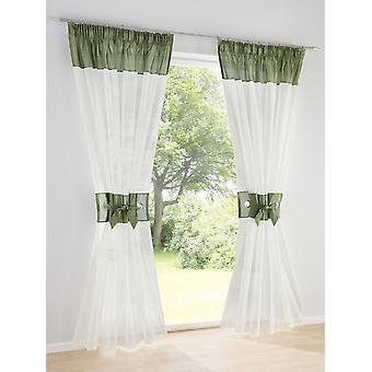Heine home ( 2 Stck. ) romantischer Dekostore mit Raffhalter offwhite-grün