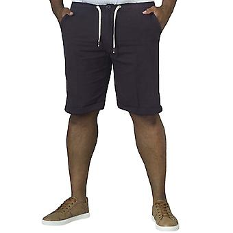 D555 Mens Gareth Big Tall King Size Summer Chino Buttoned Shorts Pants - Navy