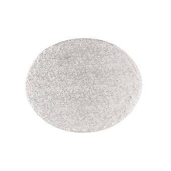 """Culpitt 15"""" X 13"""" (381 X 330mm) Cake Board Oval Silver Fern - Single"""