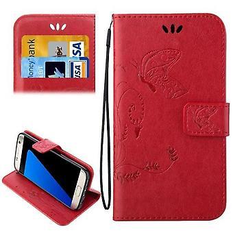 Samsung Galaxy S7 EDGE lompakko kotelo, tyylikäs perhonen hevonen nahkakansi, punainen