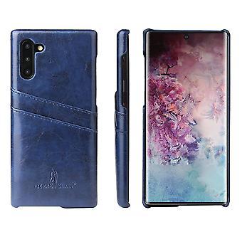 For Samsung Galaxy Note 10 case blå deluxe PU skinn tilbake shell lommebok deksel