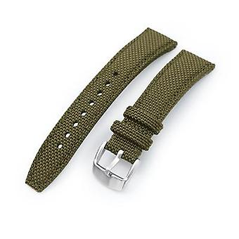 Strapcode fabric watch strap 20mm, 21mm or 22mm strong texture woven nylon military green watch strap, brushed