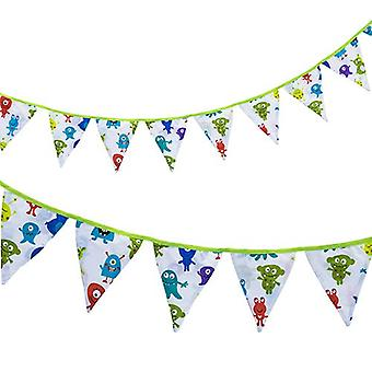 Ready Steady Bed� | Dino Design | 3 Metres | Fabric Bunting |Home Decoration | Party D�cor | Banner Flags | Printed Polycotton (Monsters)