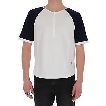 Thom Browne Mjs111a0042415 Men's Wit/blauw KatoenT-shirt
