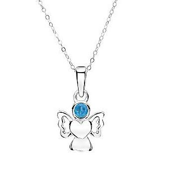 Jo For Girls Sterling Silver Angel Pendant Simulated December Birthstone14
