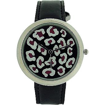 Zaza London Leopard Dial Black Leather Strap Ladies Watch LLB851