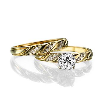 Smukke 1,60 ct hvid safir og diamanter Ring gul guld 14K