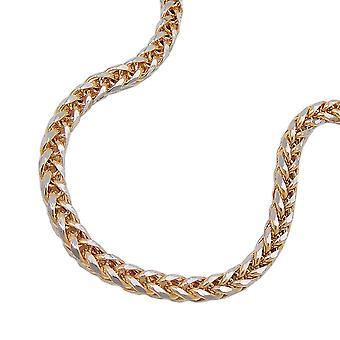 14Kt bicolor bracelet chaîne en or câble 19 cm