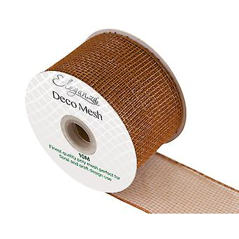 Tan 6cm x 10m Deco Mesh Roll for Wreath Making, Floristry & Crafts