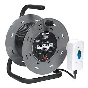 Sealey Bcr25Rcd Cable Reel 25Mtr With Rcd Plug 2 X 230V