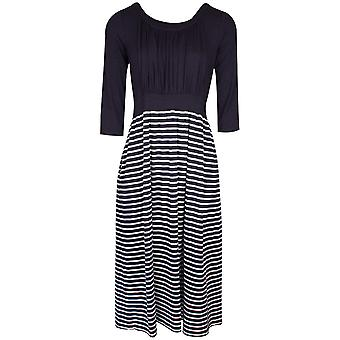 Latte Navy Blue Three Quarter Sleeve Dress With Striped Detail