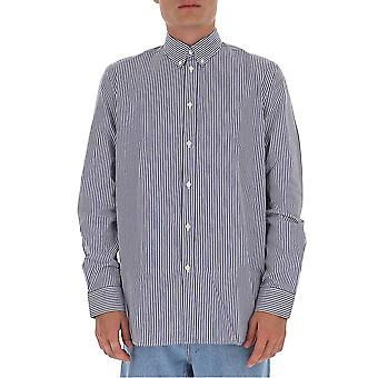 Givenchy Bm60h012zy490 Män's Vit/blå bomullsskjorta