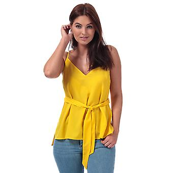 Women's French Connection Dalma Crepe Light Strappy Cami Top in Yellow