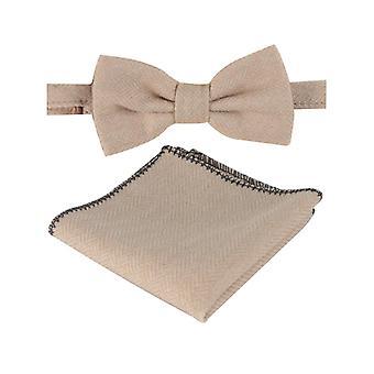 Uomini & Ragazzi Beige Aringa Tweed Dickie Bow Tie e Pocket Square