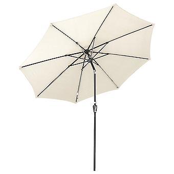Yescom 10ft Solar Powered Patio Umbrella with Tilt and Crank 8 Ribs Outdoor Market Table Umbrella for Garden Pool White