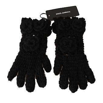 Dolce & Gabbana Black 100% Cashmere Knitted Floral Warm Gloves