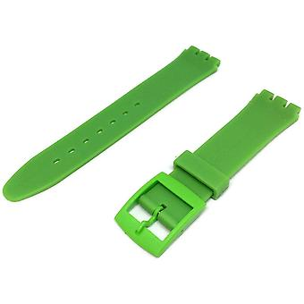 Swatch style resin watch strap green with plastic buckle size 17mm