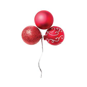 3 Assorted Red Wired Christmas Bauble Ornaments for Wreaths & Floristry