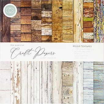 Craft Consortium Essential Craft Papers 12x12 Inch Paper Pad Wood Textures