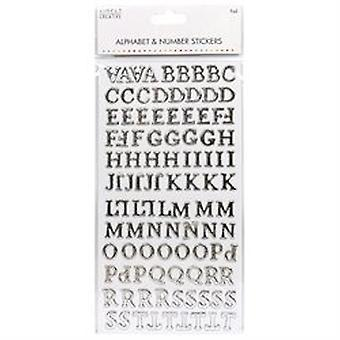 Yksinkertaisesti luovat aakkoset &; Numero Tarrat - Perinteinen folio hopea