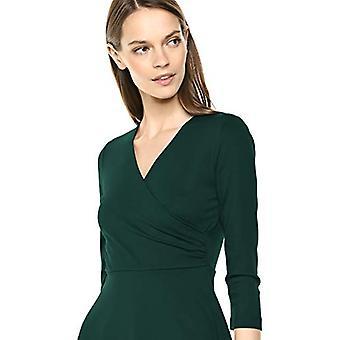 Lark & Ro Women's Three Quarter Sleeve Faux Wrap Dress, Hunter Green 12