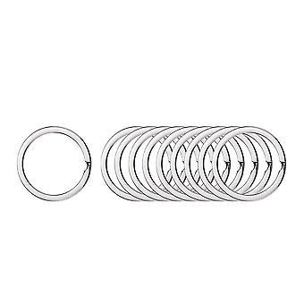 200PCS Rond Anneau de chaîne de clé plat Argent 2.0x30mm