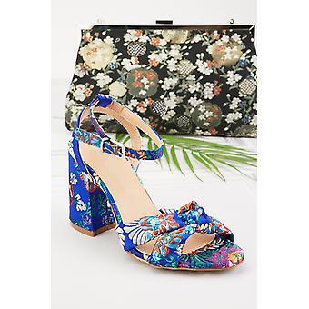 Oriental Print Block Heels