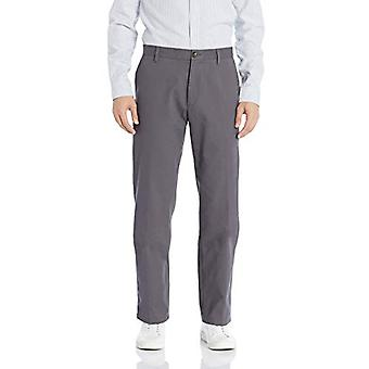 Essentials Men's Classic-Fit Wrinkle-Resistant Flat-Front Chino Pant, Light Grey, 36W x 30L