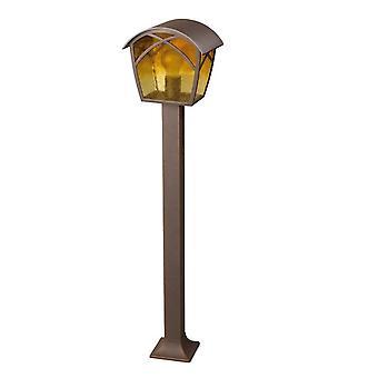 1 Light Outdoor Bollard Light Rusty Brown, E27